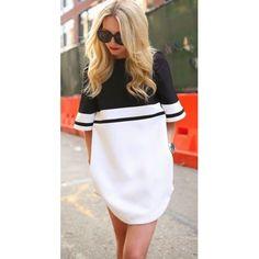 Black-White Patchwork Zipper Elbow Sleeve Slim Caual Dress - MalangFashion