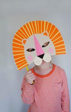 Masken basteln-Kinder Faschingskostüme-Löwenkopf