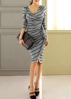 Long Sleeve V Neck Striped Sheath Dress on sale only US$37.74 now, buy cheap Long Sleeve V Neck Striped Sheath Dress at lulugal.com
