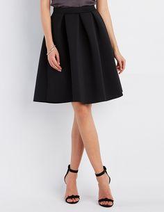 Pleated Full Scuba Skirt | Charlotte Russe