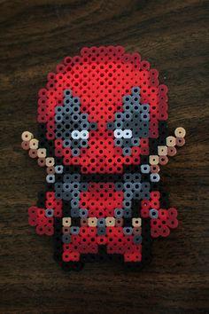 Mini-Deadpool perler beads by PkmnMasterTash on deviantART