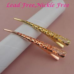 "50PCS 5.0cm 2/"" Rose Gold Metal Snap hair Clips one hole nickle free,lead free"