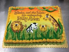 Jungle Safari Cake by Stephanie Dillon. Giant Eagle has a cute Safari cake for a shower. It doesn't look like this exactly but its cute. Jungle Safari Cake, Safari Birthday Cakes, Jungle Theme Cakes, Safari Baby Shower Cake, Birthday Sheet Cakes, Jungle Theme Birthday, Safari Cakes, Safari Birthday Party, Animal Birthday