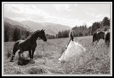 love horses in photos. also love the dress and scenery!