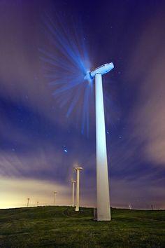 Night view - Taff Ely Wind Farm, Rhiwceiliog Pencoed, Wales, United Kingdom