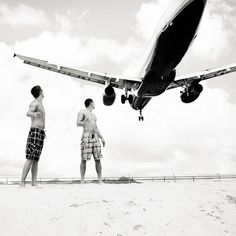 Princess Juliana International Airport (SXM) on St. Maarten has an extremely short runway (7152 feet) that forces jets to get mighty close to people at Maho Beach.