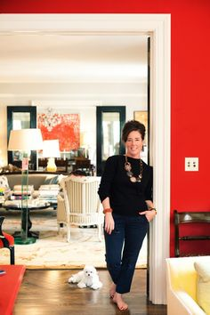 Kate Spade- like that one room is bright with a white wall behind it.