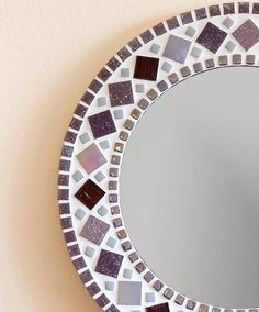 Mosaic Mirror in Purple & Grey Bathroom Mirror, Round Wall Mirror, Purple Mirror, Mosaic Wall Art, Purple Wall Art Purple Wall Art, Purple Mirror, Purple Walls, Purple Grey, Sea Glass Mosaic, Stained Glass Birds, Stained Glass Panels, Fused Glass, Mosaic Wall Art