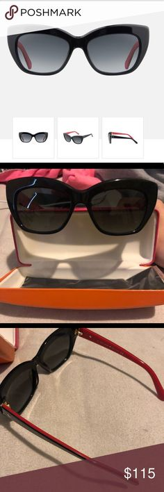Kate Spade Sunglasses Featuring trendy black and red frames, full rim car eye designs with the iconic Kate Spade logo along the temples. Never worn still in packaging ! Kate Spade Sunglasses, Cute Sunglasses, Sunglasses Accessories, Lens Logo, Kate Spade Logo, Frames, Fashion Design, Fashion Trends, Eye
