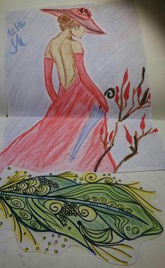Lady in red - Kreide