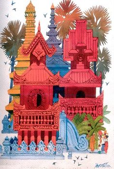 Monastery by Paw Oo Thet -- Burmese artist