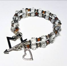 Only $7.29! - SALE Beautiful 2 Row Crystal Clear and Amber/Gold/Topaz Glass Faceted Rondelle Bead Bracelet w/Cupid's Bow & Arrow Toggle and Dangling Silver Heart Charm - Under $10 Bracelet - FREE USA SHIPPING https://www.etsy.com/listing/234307635/sale-2-row-translucent-ambergoldtopaz