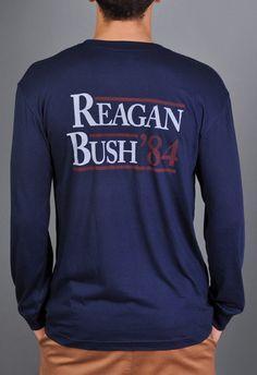 Reagan Bush '84 Long Sleeve Pocket Tee Shirt - Navy