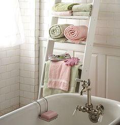 bathroom towel shelf from old ladder