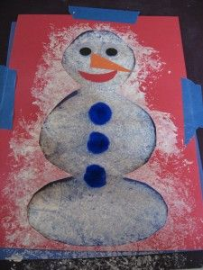 Sneeuwman, spatten, tamponeren met een plastic zakje!