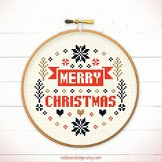 Christmas cross stitch pattern Merry Merry by redbeardesign