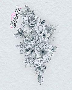Mandala Flower Tattoos, Rose Flower Tattoos, Flower Tattoo Drawings, Tattoo Design Drawings, Tattoo Sleeve Designs, Flower Mandala, Flower Art, Tatoo Floral, Floral Thigh Tattoos