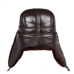 Men genuine leather Bomber hats with earlflap Russian winter Faux  fur Earmuffs caps