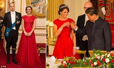 The Duchess of Cambridge, 34, stayed true to her thrifty form as she recycled a sweeping red Jenny Packham gown for the annual Diplomatic Reception at Buckingham Palace on Thursday left. She first wore the dress in 2015 for her first state banquet at Buckingham Palace, right, alongside Chinese president Xi Jinping
