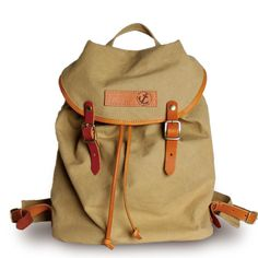 Marco Tan Cotton Canvas & Leather Backpack | clueto