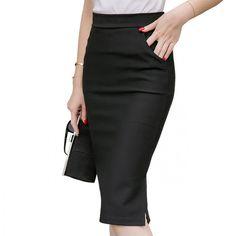 5XL Plus Size Midi Skirt Women 2017 Fashion OL Office Pencil Skirts Women's Jupe New Arrival Slit High Waist Skirt Black Red