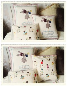 belle and boo cross stitch cushions