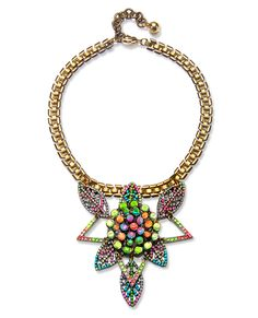 Charm & Chain's Kaleidoscope Collection - Lulu Frost: This necklace ($375; charmandchain.com), made of stones and brass, was created—in typical Lulu Frost fashion—from vintage findings that were pieced together and hand-painted in a rainbow of neons to create a kaleidoscope-like pattern. #InStyle