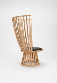 Fan chair Armchair - H 112 cm / Wood & leather by Tom Dixon