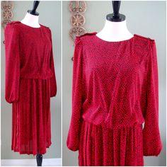 Vintage Red Dress, Red and Black Leopard Print Secretary Dress, 80s Sheer Red Dress, Breli Originals, Size 10.
