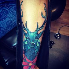 #tattoo #stag #stagtattoo #deer #deertattoo #cherryblossom #cherryblossomtattoo #fullcolor #fusionink #bishoprotary #blue #antlers #horns #jessemercado #jessemercadotattooist #concretejungle #concretejungletattoo #chulavista #bluetattoo #hanibal