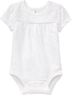 Embroidered-Inset Bodysuit in White (size 0-3 m), $10.94