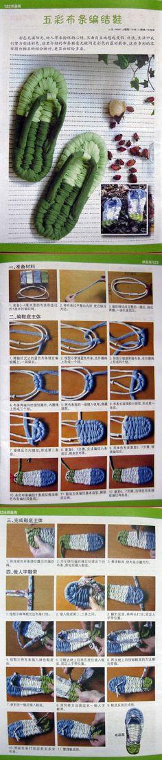 fabric woven flip flops