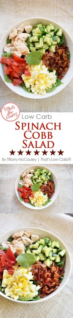 This delightful, low carb salad is filling, nutritious and fits a low carb eating plan perfectly! Switch up the toppings to suit your tastes! ~ http://www.thatslowcarb.com