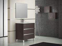 "Eviva Escorpio® 32"" Wenge Modern Bathroom Vanity Wall Mount with White Integrated Porcelain Sink"