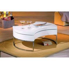 Table basse design blanc laqué plateau pivotant TURN MILIBOO : prix…