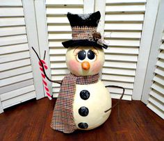 Handmade Primitive Christmas Winter  Sculpted Snowman Doll Gourd Gourd Crafts, Christmas Crafts, Christmas Ornaments, Light Bulb Crafts, Gourds Birdhouse, Painted Gourds, Tin Man, Ginger Bread, Gourd Art