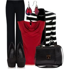 Black pants, red top, black and white stripe jacket