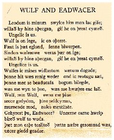 "The poem ""Wulf and Eadwacer"" in its original Old English. One of my favorites."