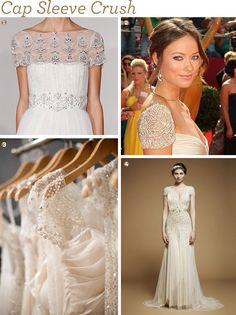 We are crushing on cap sleeves!  Find out picks from BHLDN, Nordstrom, Bloomingdales, Etsy, & more! #capsleeve #weddinggowns