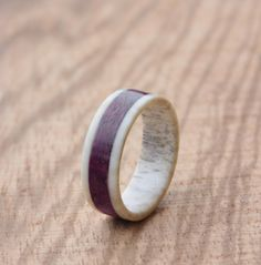 Deer antler ring with amaranth wood inlay made by agatechristina, $42.00