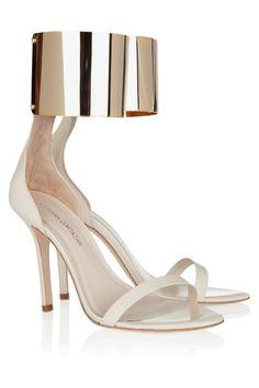 Esteban Cortazar|Metal ankle-cuff leather sandals|NET-A-PORTER.COM