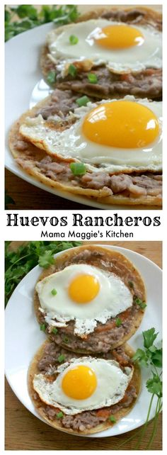 """Huevos Rancheros (or """"Rancher's Eggs"""") is a classic Mexican breakfast. A d… Huevos Rancheros (or """"Rancher's Eggs"""") is a classic Mexican breakfast. A delicious and hearty meal that is perfect for brunch. By Mama Maggie's Kitchen Mexican Brunch, Mexican Breakfast Recipes, Mexican Dishes, Brunch Recipes, Mexican Food Recipes, Mexican Meals, Brunch Food, Mexican Tamales, Mexican Kitchens"""
