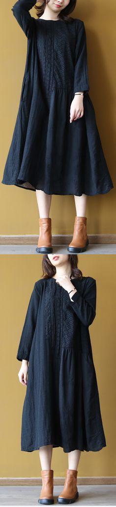 top quality black linen dress plus size o neck cotton maxi dress