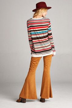 American Made Women's Retro Striped Top in Red Back