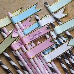30 Paper Flag Straw Stickers