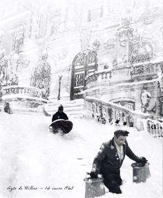 14 de enero 1963 - Gran nevada sobre Bilbao. En el Ayuntamiento se alcanzaron los 2,47 metros de espesor de nieve. (Foto Udal Artxiboa). Nevada, Athletic Clubs, Basque Country, Nostalgia, Spain, Snow, Black And White, Outdoor, Composition