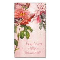 Hair Stylist Business Card Grunge Floral Pink