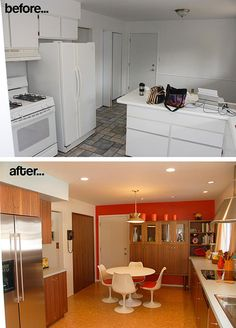 before-after-mid-century-modern-kitchen-remodel  cabinet on back wall