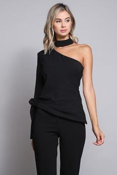 All black knit with a little shoulder action Loveeee