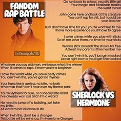 Who won in this fandom rap battle? Sherlock Holmes vs Hermione